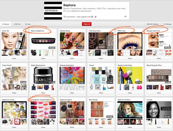Sephora's Pinterest Board Strategy Uses A Good Mix Of Product, Educational How-to's, and Self Branding