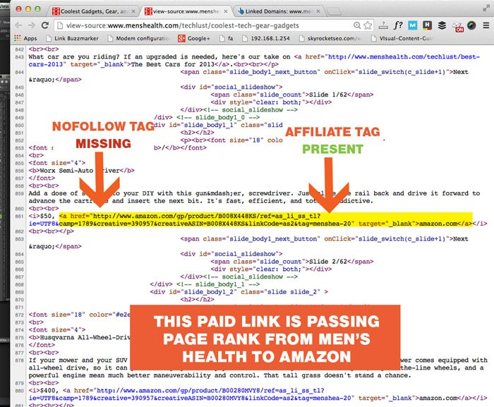 This paid link is passing PageRank from Men's Health To Amazon.