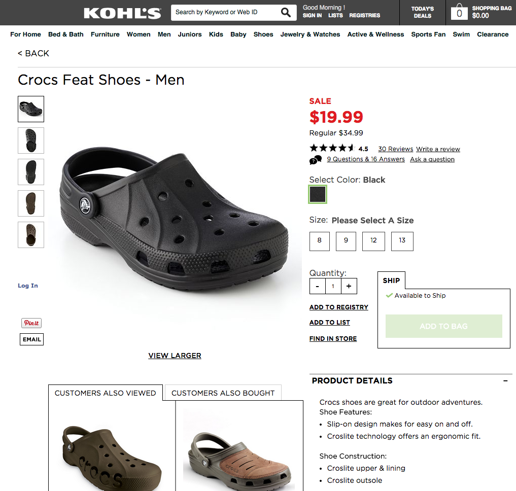 Crocs Feat Shoes Men