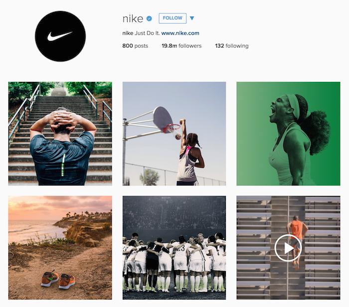 Le compte Instagram de Nike a d'excellents visuels