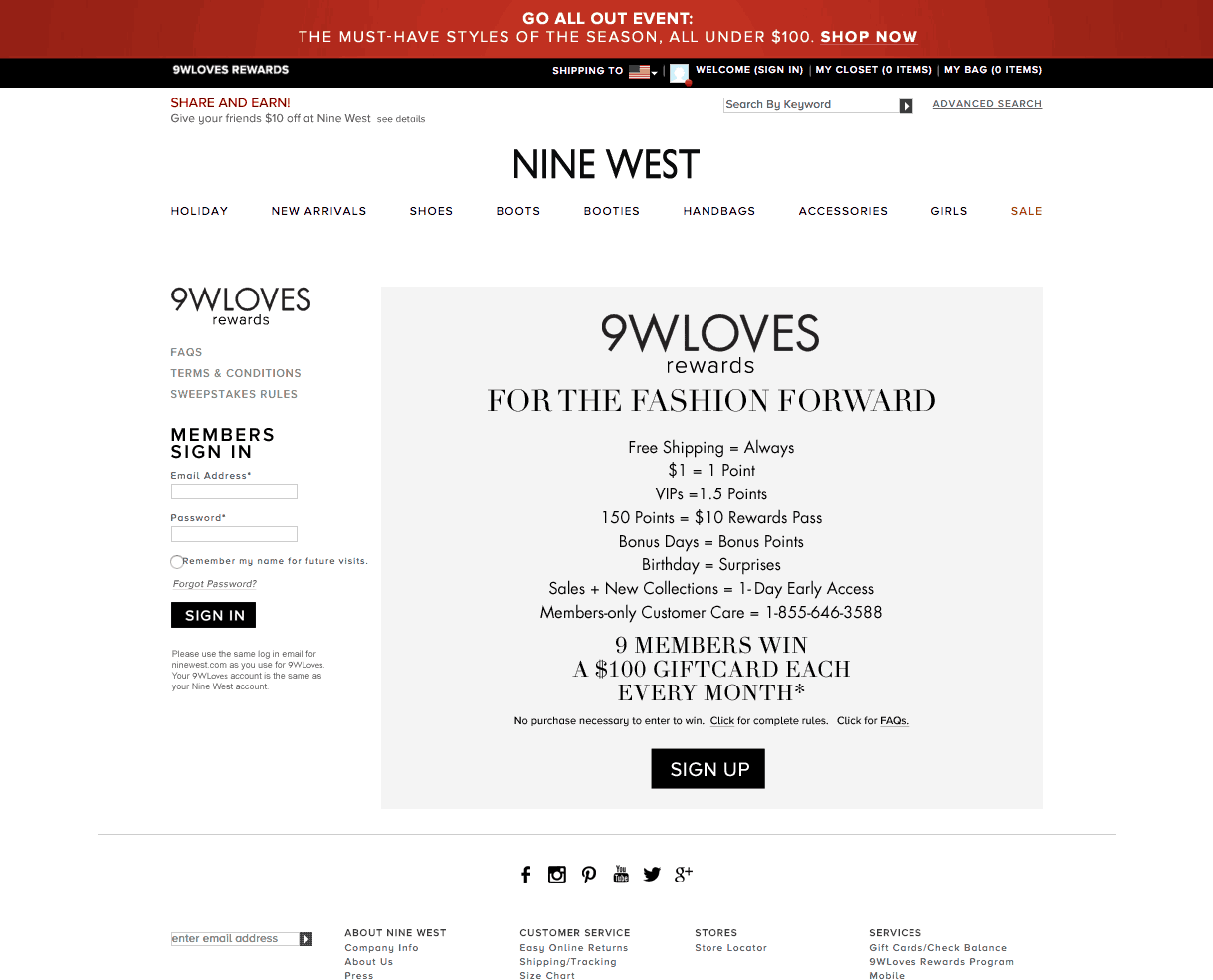 9WLOVES Is Nine West Points Based Rewards Program