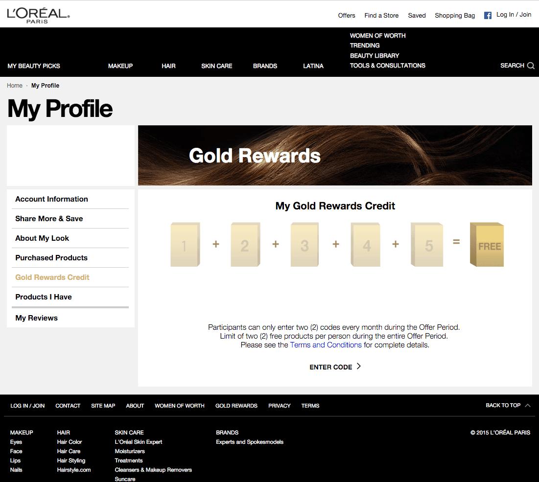 L'Oreal Gold Rewards