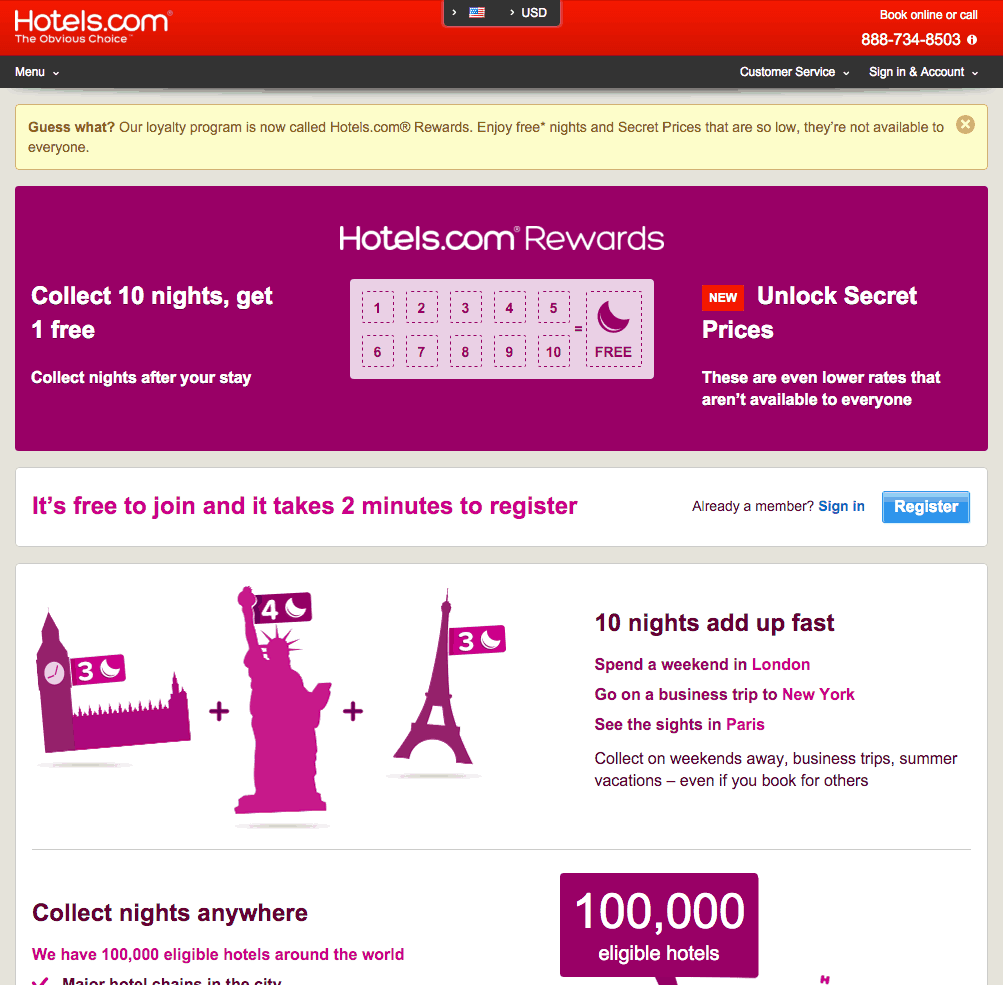 Hotels.com Punch Rewards Program