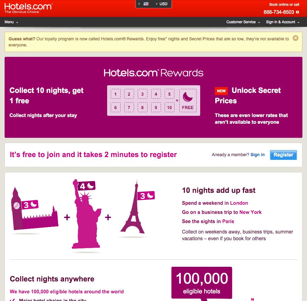 Hotels.com Punch Rewards Program