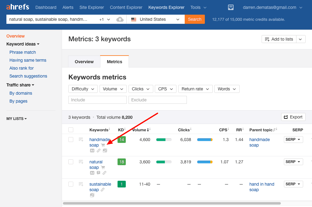 Ahrefs Keyword Explorer Results