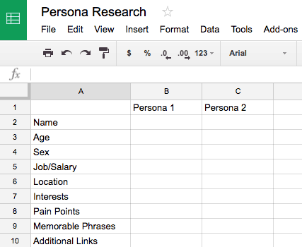 Persona Research Google Sheet