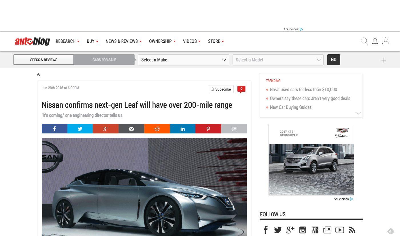 Autoblog.com's Interactive Homepage