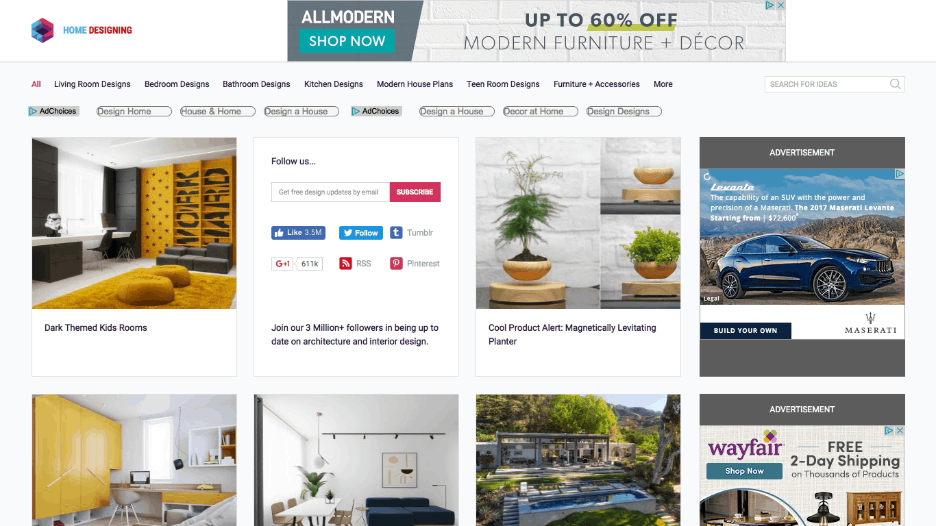 Home Designing's Appealing Homepage