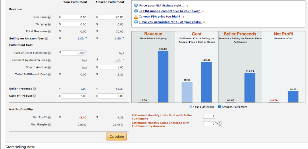 Using Amazon FBA Calculator