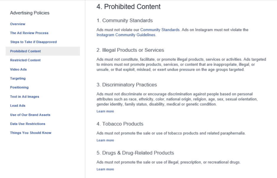 Prohibited Content On FB