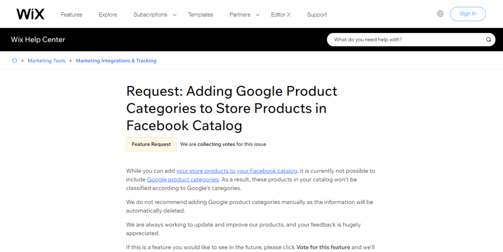 Request Adding Google Product Categories To Store Products In Facebook Catalog Help Center Wix.com