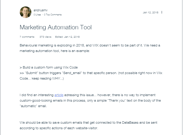 Wix has no marketing automation