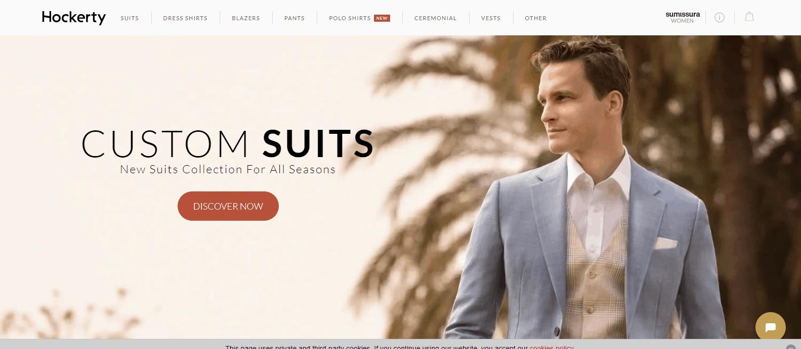 Ligne de vêtements de commerce électronique de costume personnalisé