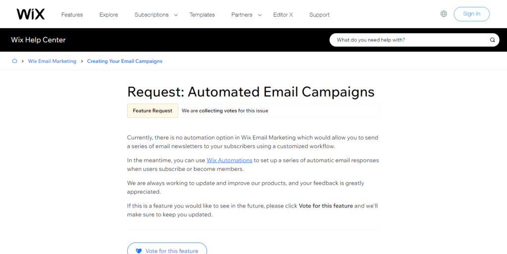 Request Automated Email Campaigns Help Center Wix.com