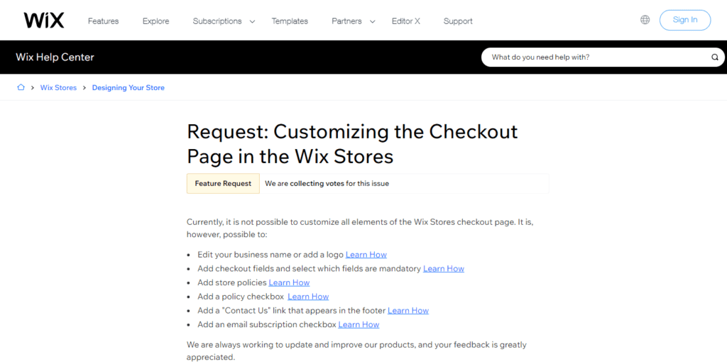 Request Customizing The Checkout Page In The Wix Stores Help Center Wix.com