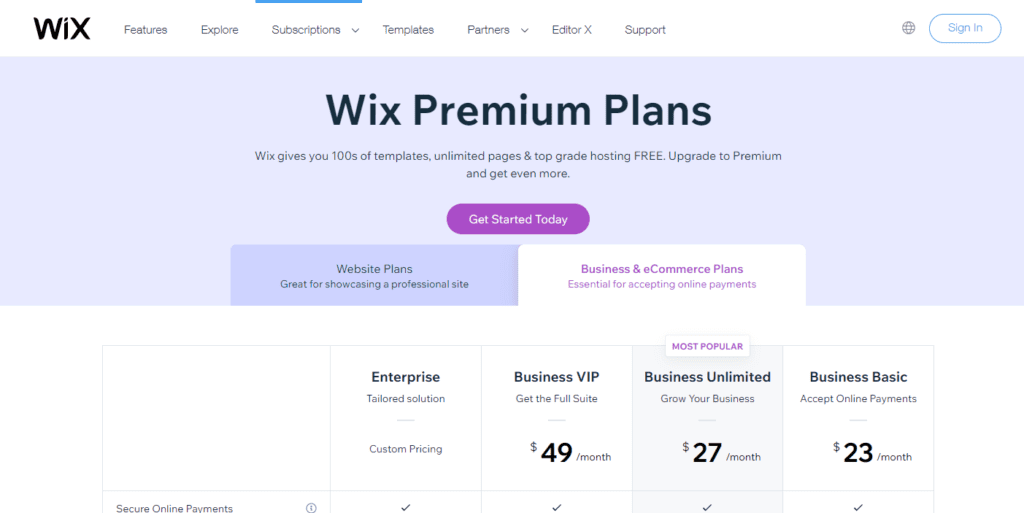 Wix Pricing Information Upgrade To A Premium Plan Wix.com
