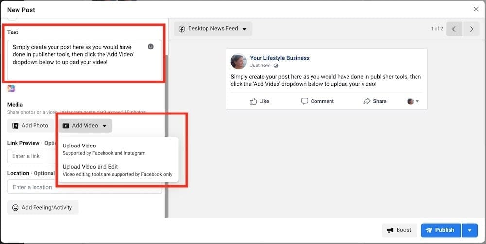 2. Add the text part of your post as you would with publishing tools.