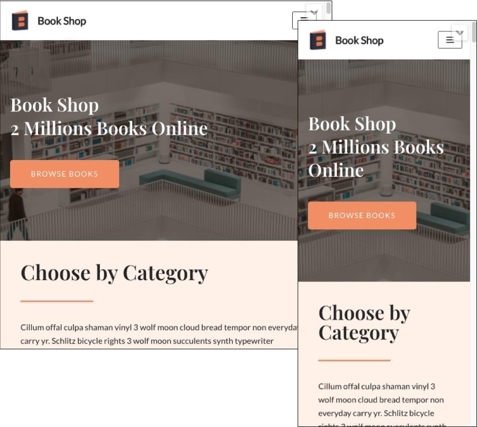Neve Theme Bookshop Template