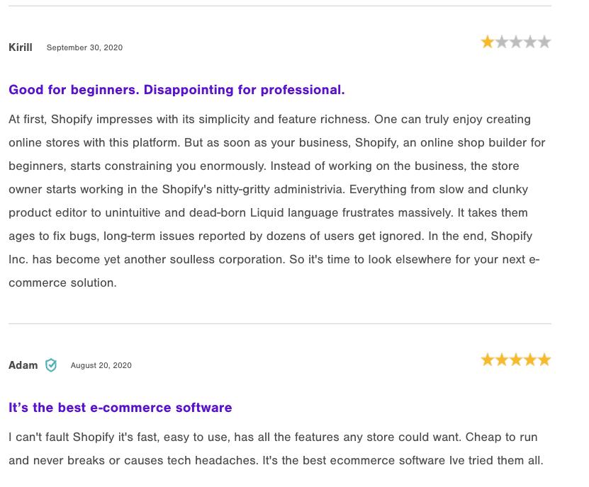 Shopify Positive Reviews