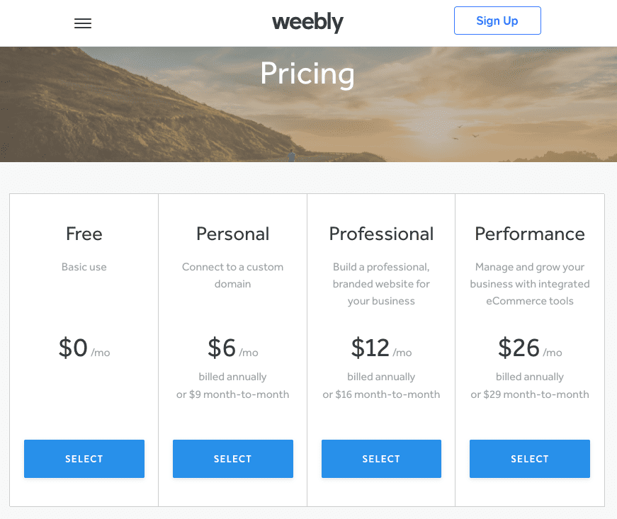 www.weebly.com pricing