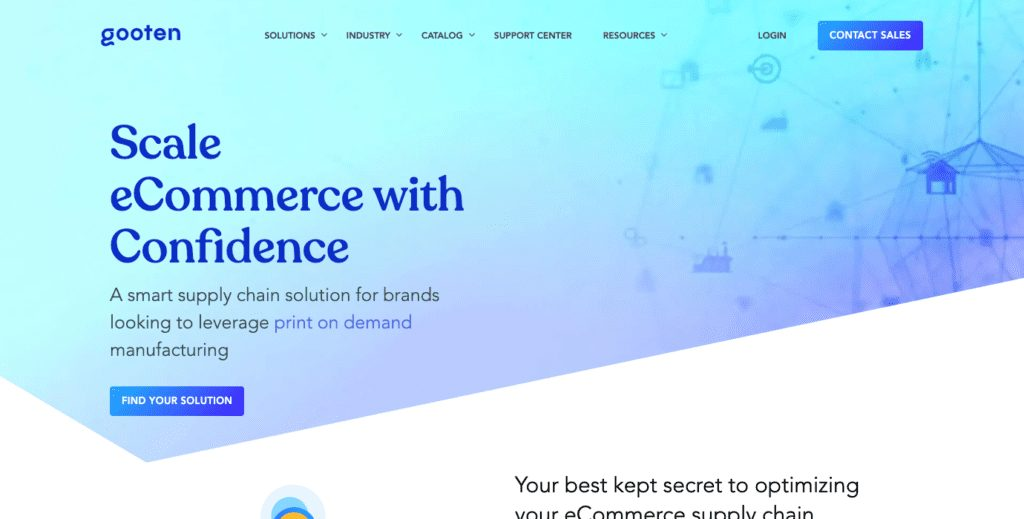 Gooten Review: Homepage