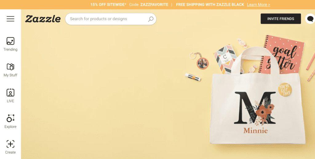 Zazzle review: Zazzle homepage