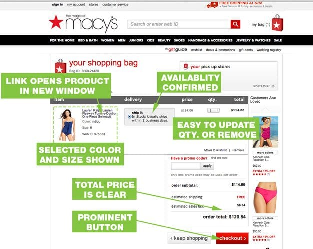 Macy's cart page hits many best practices.